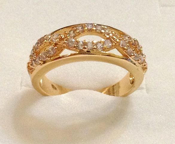 18KGP Yellow Gold Ring with Rhinestone Crystals 7R GA price