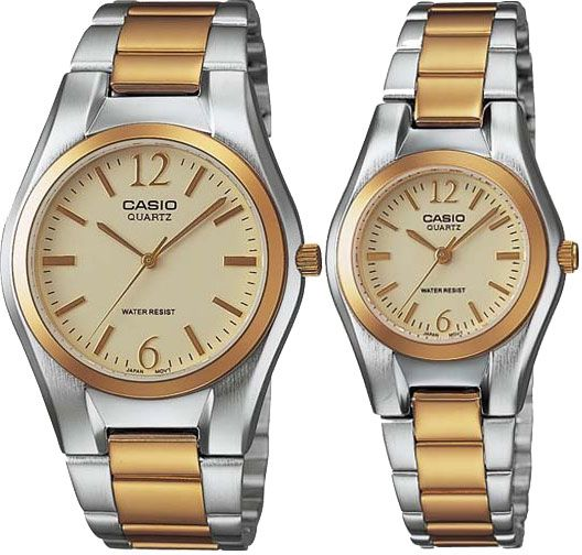 e807d41c76a Casio His   Hers Gold Dial Two Tone Stainless Steel Band Couple Watch - MTP LTP-1253SG-9