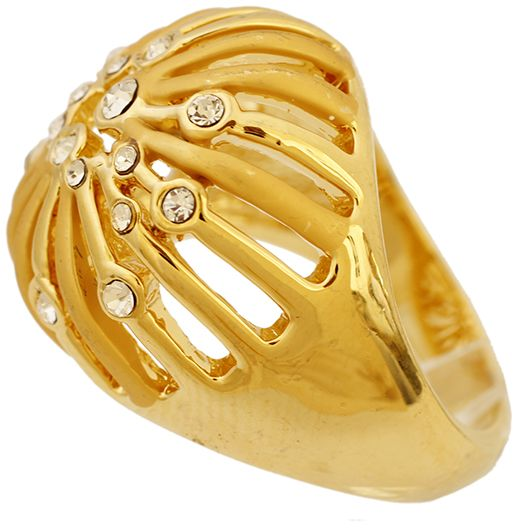 Golden Essentials 22K Gold Plated Taj Crown Design Ring with Cz