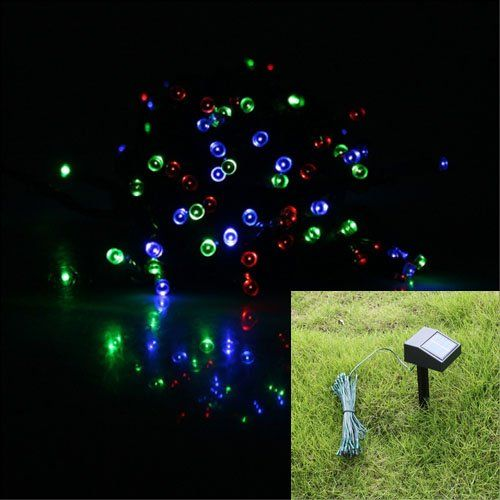 17M 55ft 100 LED Solar Powered String Lights Garden Decoration Christmas Wedding Light RGB Mixed Color ‫(Red  Green  Red)
