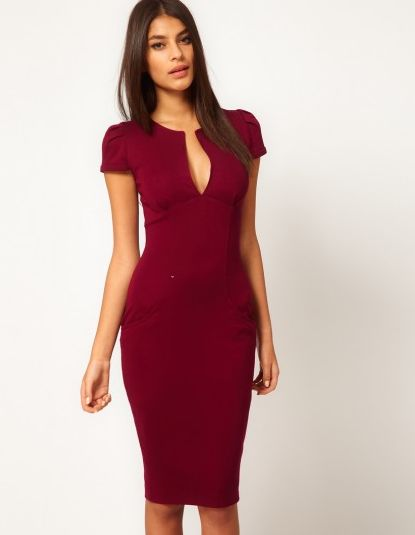 Women Pencil Dress Plunge V-neck Pocket Slim Bodycon Midi Dress Ol ... 652606506