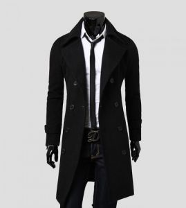 1b6b33a97420 Men s Trench Coat Winter Jacket Double Breasted Overcoat black
