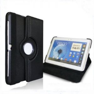 (Black) 360 Degrees Rotating Stand Case Cover for Samsung Galaxy Note 10.1 inch Tablet N8000