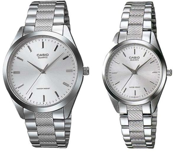 8269ddd13c69 Casio His   Her Silver Dial Stainless Steel Band Couple Watch  MTP LTP-1274D-7A