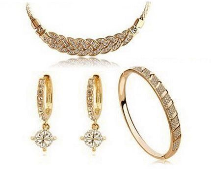 18k Gold Plated Italina Braided Design Necklace Earring And