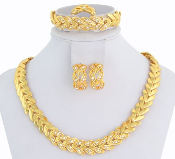 18K Gold Plated Crystal Choker Necklace Jewelry Set For Women