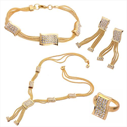 Gold Plated Set of Necklace Bracelet Earrings & Ring