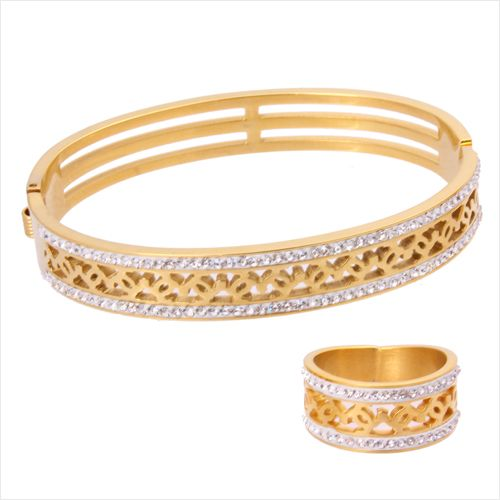 18K Gold Plated Bangle and Ring Set with Crystal Stones Elegant
