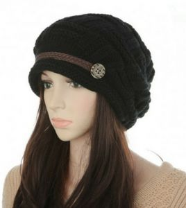 4c1c951f Headwear Women Warm Rageared Baggy Winter Beanie Chunky Knit Crochet Ski  Hat Cap GH3132 Black