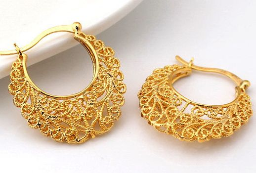 18k Real Gold Plated Latest Design Hollow Flowers Hoop Earrings