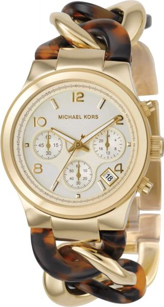 a43428aac06c Michael Kors Chain Link Watch for Women - Analog Stainless Steel Band -  MK4222