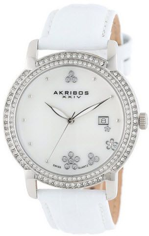 c397e311b ساعه ماركة Akribos XXIV Women's AK555SS Swiss Quartz Crystal Mother ...