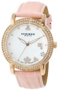 78d6dd45b ساعه ماركة Akribos XXIV Women's AK555PK Swiss Quartz Crystal Mother-Of-Pearl  Strap Watch | KSA | Souq