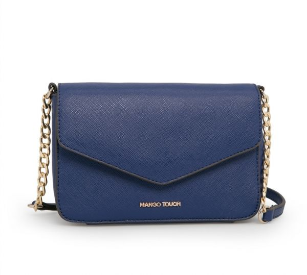 8a419a1660b8 MNG Mango TOUCH navy saffiano effect cross body mini chain bag for ...