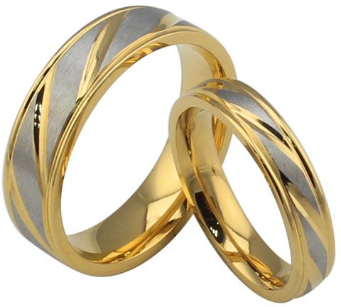 Louiso Gold Plated Lover s Gift Stainless Steel Couple Rings