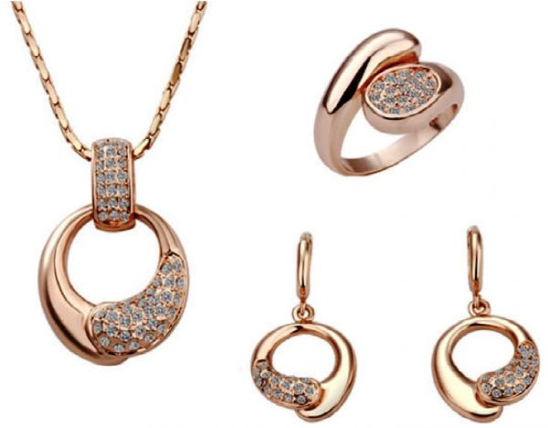 18k Rose Gold Plated Jewelry Set NecklaceEarringsRings with