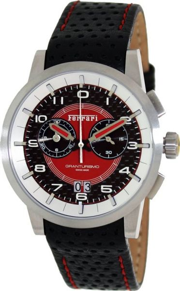 6a96f9cd96ee6 ساعة فيراري رياضية رجالي Ferrari Granturismo Red Dial Chronograph Mens Watch  FE-11-ACC-CP-FC