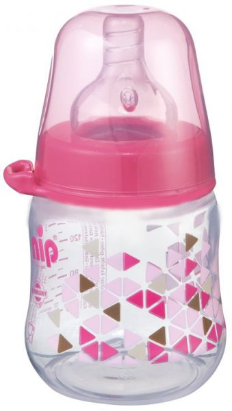 souq nip wide neck silicone baby bottle 150ml pink triangles