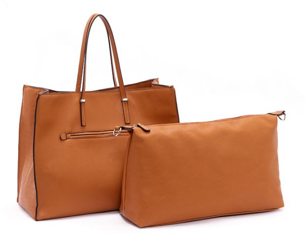 b3dad21b3f3e0 Parfois 2 Pieces Set Tote And Inner Bag Brown