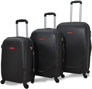 6c364fd05f85 HighFlyer CURVE Series 3 Pc Trolley Hard Luggage Bag Set - Black
