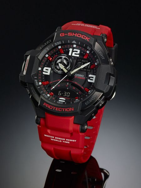 6cb470fe9c6 Casio G-Shock G-Aviation Twin Sensor Red Watch GA-1000-4B
