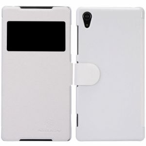 Nillkin Sony Xperia Z2 D6503 L50 Fresh Flip Leather Case Cover With Screen Protector - White