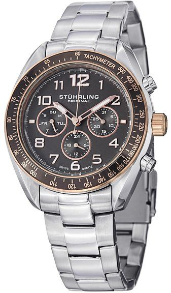 Stuhrling Original Men's 814 03 Octane Analog Display Swiss Quartz Watch  Silver Stainless Steel Band