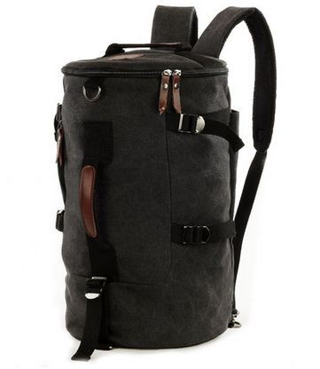 6e966814bf Men Big fashion Cylindrical backpack Canvas Leisure bag Travel Bag School  bag My15 black