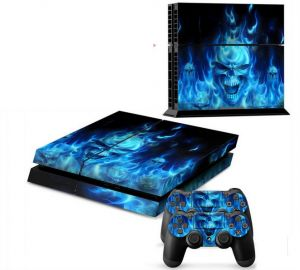 Blue Skull Decal Skin Cover Sticker For PS4 Console & Controller