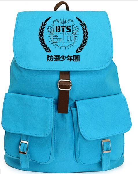 kpop band BTS blue canvas backpack