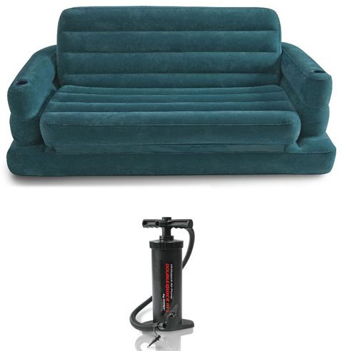 Intex 68566 Two Person Inflatable Pull Out Sofa Bed With Manual Pump