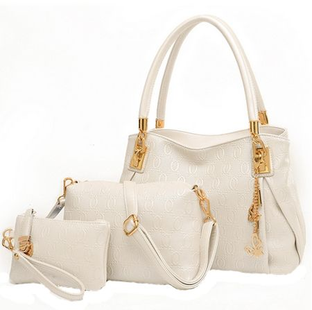 Tote Bag with 2 Pouch Set for Women - White  4adff00fdce9f