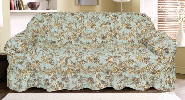 Knightsbridge Bahama Canvas Printed Sofa Cover 2 Seater