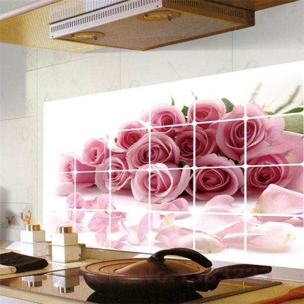 Roses Kitchen Vinyl Wall Stickers Home Bathroom Waterproof Decals Home  Decoration Wallpaper Kitchens