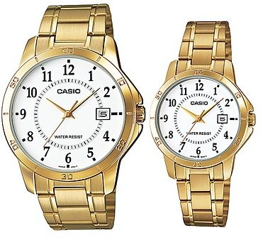 5b17d8b1af17 Casio His and Hers White Dial Stainless Steel Band Couple Watch  MTP LTP-V004G-7B .  by Casio