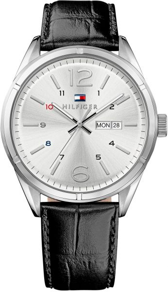 Tommy Hilfiger Mens Silver Dial Leather Band Watch - 1791060