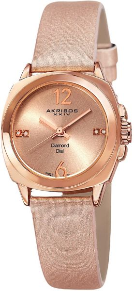 Akribos xxiv women 39 s rose gold dial leather band watch ak742rg souq uae for Akribos watches