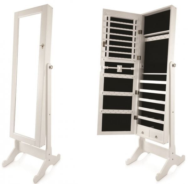 Full Length Jewelry Cabinet With Mirror, White   132 X 48 X 17 Cm