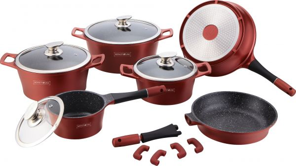 royalty line set  Royalty Line 14 Pcs Marble Coating Cookware Set -Burgundy Color ...