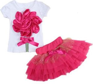 Casual Summer Clothing Set 2 Pieces T Shirts Skirt With Flower Outerwear And Outdoor For Girls