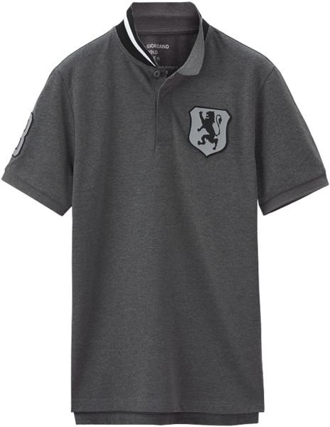 Giordano Lion Badge Polo T Shirt For Men 2xl Gray Souq Uae