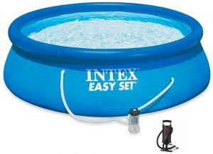 Intex 28112 Easy Set Swimming Pool With Sand Filter And Manual Air Pump