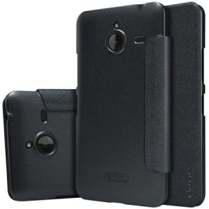 Microsoft Lumia 640 XL Sparkle Series Flip Leather Case Cover With Screen Protector - Black