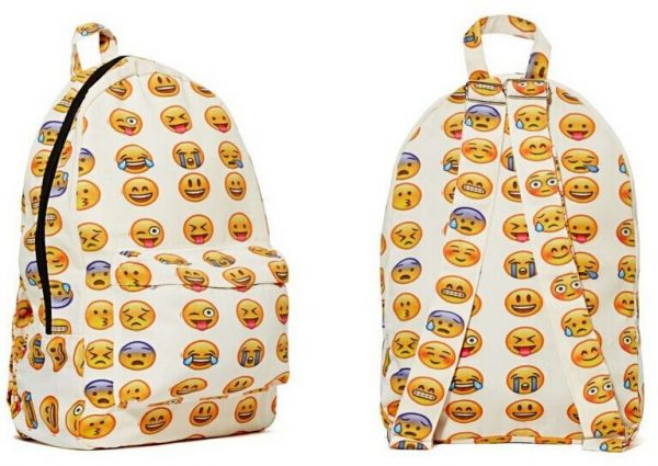 93d49579c9 Canvas Backpacks Smiley Emoji Face Printing School Bag For Teenagers ...