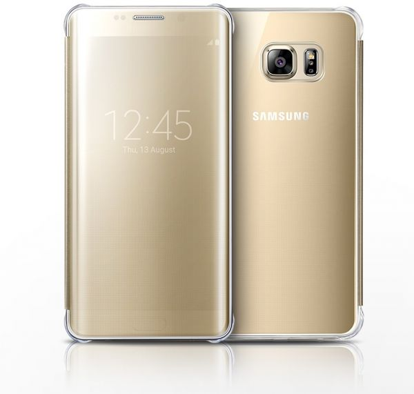 Samsung Galaxy S6 Edge Plus Clear View Cover - Gold   Souq - UAE 607e9a95b7c2