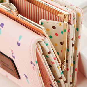 a5f7340c8d Large capacity cute girl flowers pattern pink leather fashion short wallet  purse for women DKQB-7X