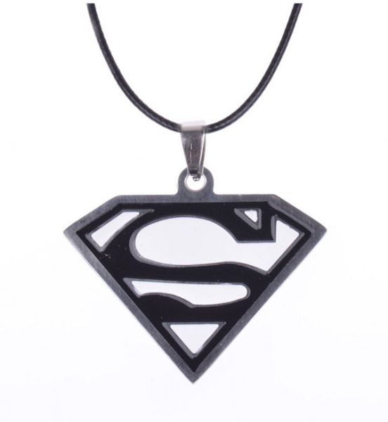 Buy Black And White Superman Logo Pendant With Genuine Leather Cord