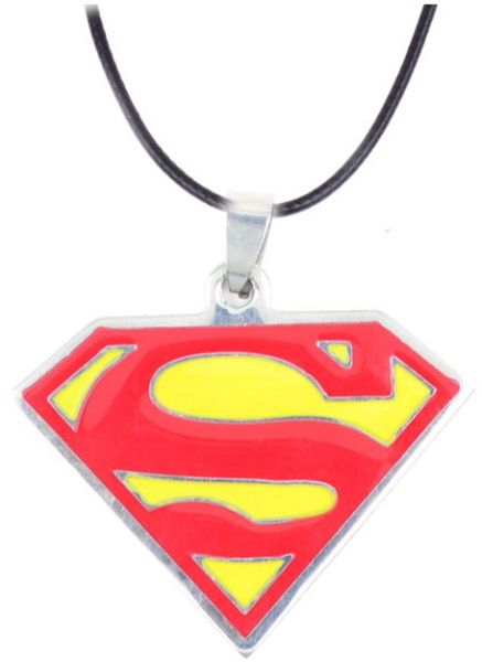 Red And Yellow Superman Logo Pendant With Genuine Leather Cord