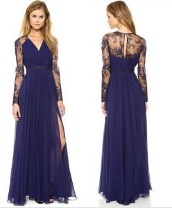 Blue V-nack Long Formal Wedding Gown Party Evening Cocktail Prom Beach Women  Dress e26b9039bf86