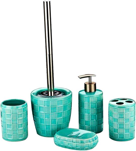 Ihouse 5 piece ceramic bathroom accessories set green for Bathroom accessories kuwait